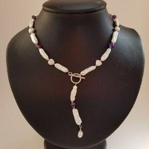🌟💜Biwa Pearls with Amethyst Gemstones💜🌟